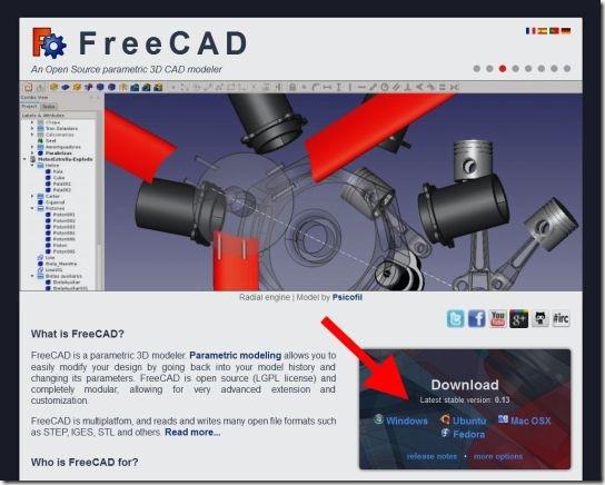FreeCADのウェブサイト